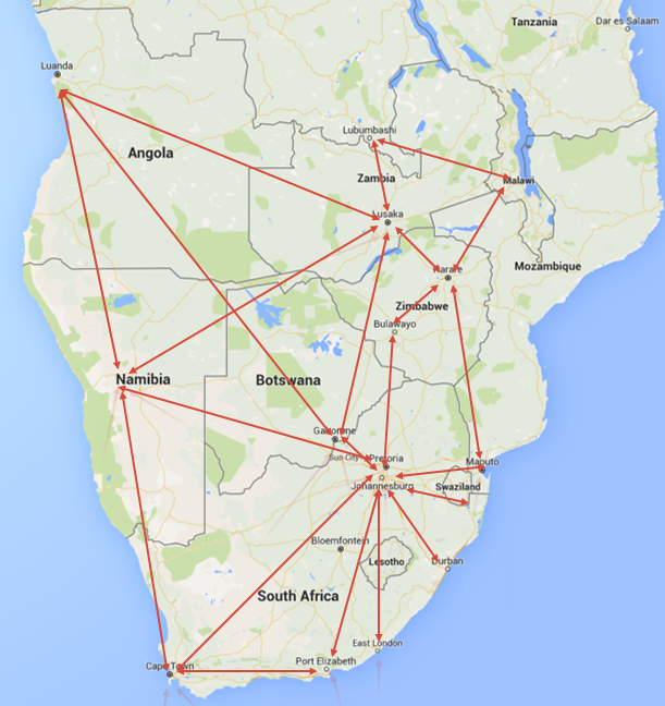 FDN Road Transport Services In South Africa - Angola road map